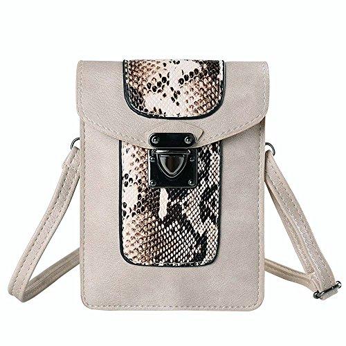 VanGoddy Snake Skin Design Vertical Crossbody Bag Wallet carring case pouch for Samsung Galaxy Mega 2 3 / Galaxy S7 Edge / S6 Active / S6 Edge+ Plus / Galaxy J3 J5 J7 / Grand Prime (Beige)