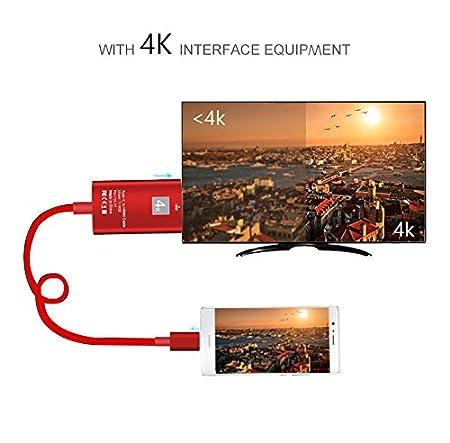 Hovinso Cable USB Typc C a HDMI HDTV 4K, Adaptador 2M USB 3.1 Tipo C a HDMI, para MacBook/Chromebook Pixel/Yoga 910 / LG G5 / Samsung Galaxy (Rojo)