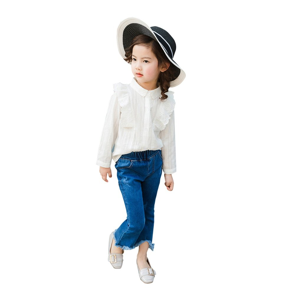 Baywell Fashion Girls Trumpet Split Jeans Elasticity Slim Trend Trousers