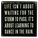 """Life Isn't About Waiting... Hanging or Standing Décor Wood Box Sign for the Home - Office - Desk, Wall or Tabletop Display - 4"""" X 4"""""""