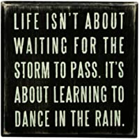 """Primitives by Kathy 16336 Classic Box Sign, 4"""" x 4"""" x 1.75"""", Dance in the Rain"""
