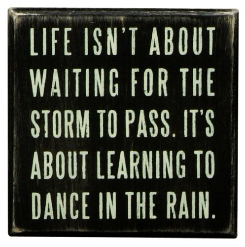 [Primitives By Kathy Box Sign, Dance In The Rain,4x4 Inch] (Inspirational Wall Decor)