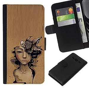 KLONGSHOP // Tirón de la caja Cartera de cuero con ranuras para tarjetas - Arte Significado de color marrón oscuro Pintura - Samsung Galaxy A3 //