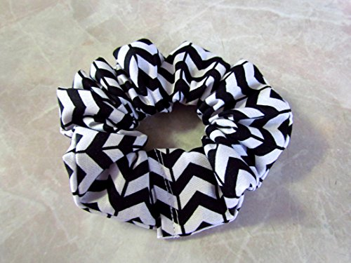 Black & White Chevron Hair Scrunchie 100% Cotton