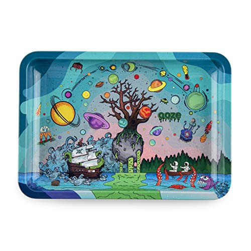 Ooze - Metal Rolling Tray - Tree of Life - (Small) - Smoking Accessories - Rolling Tray - Ashtray  (Best Bong For Weed)