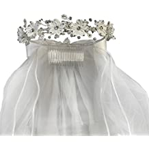 "Lito Girls White Satin Flower Sparkle Rhinestones Headpiece 24"" Communion Veil"