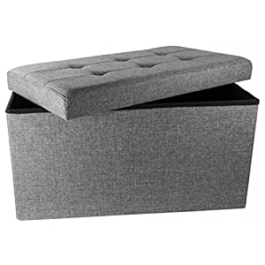 "Upholstered Folding Storage Ottoman with Padded Seat, 30"" x 16"" x 16"" - Charcoal Grey"