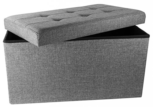 (Red Co. Upholstered Folding Storage Ottoman with Padded Seat, 30