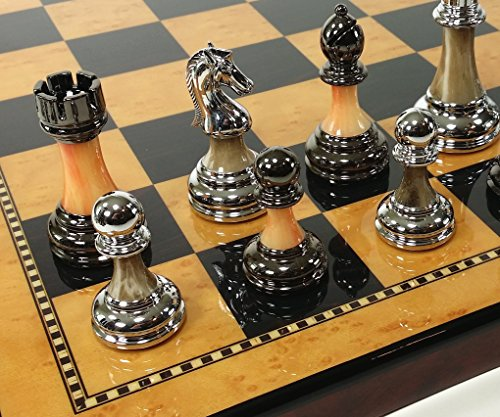HPL Staunton Chrome & Black Chrome Chess Men Set W 18