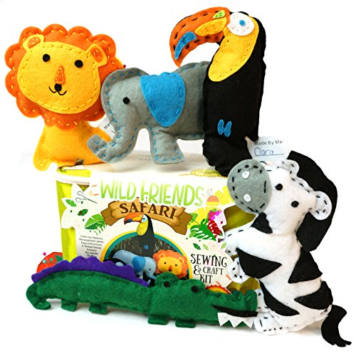 Wild Animals Fun Kit - Kids Sewing Kit and Animal Crafts - Fun DIY Kid Craft and Sew Kits for Girls and Boys 120 Piece Set