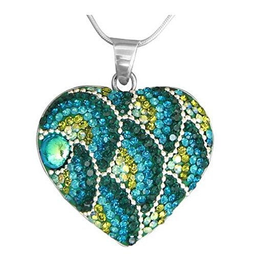 Dreamglass Mexico Mosaico Sterling Silver Dichroic Glass and Preciosa Czech Crystals Heart Pendant Necklace, Green & Teal, 17