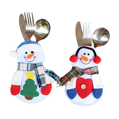 Pendant & Drop Ornaments - 2pcs Set Christmas Decor Lovely Snowman Tableware Holder Pocket Dinner Cutlery Party Table - Pocket Home Under Centerpiece Organizer Handmade Storage Lights Desk Outdo