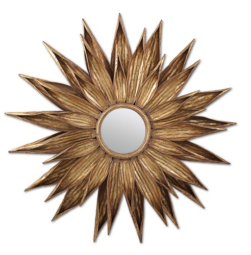 Two s Company Sunflower Antiqued Gold Wall Mirror – Metal Glass