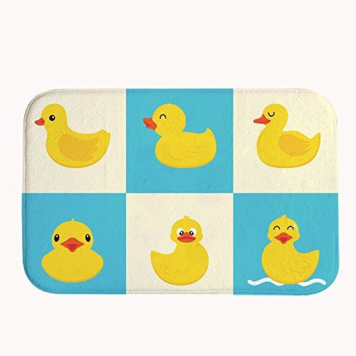 Yilooom Cute Rubber Ducks Bath Mat Coral Fleece Area Rug Door Mat Entrance Rug Floor Mats for Front Outside Doors Entry Carpet 50 X 80 X 1.3cm