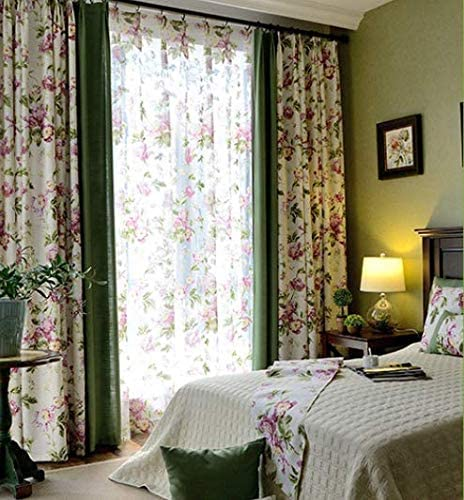 FADFAY Farmhouse Pink Floral Printed Blackout Curtains