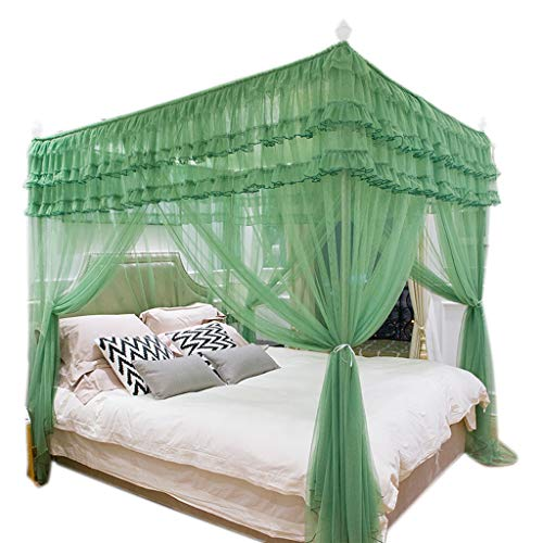 Obokidly Mosquito NET for Bed Canopy, Large Square Curtains, Mosquito Netting with 3 Openings Easy Installation for Daybed Bride Wedding Bedding Decorations Gifts (Green, King)