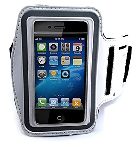 White Armband Sports Gym Workout Cover Case Running Arm Strap Band Pouch Neoprene for Tracfone LG 530G - Tracfone LG Optimus Fuel - Tracfone LG Saber / (Lg Optimus Fuel Griffin Case)