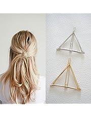 Pinza para el pelo de triángulo gométrico minimalista, diseño hueco de metal, accesorios para pinzas de pelo, pasador de bobby y coleta (dorado y plateado)