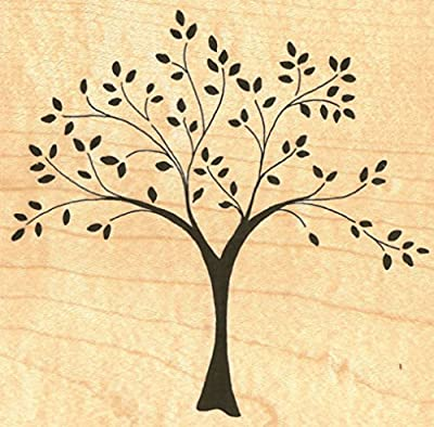 """{Single Count} Unique & Custom (4 1/4"""" by 4"""" Inches) """"Mother Nature, Tree Of Life"""" Rectangle Shaped Genuine Wood Mounted Rubber Inking Stamp"""
