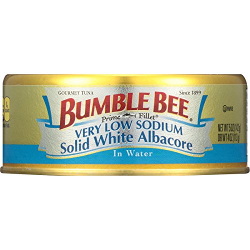 BUMBLE BEE Prime Fillet Solid White Albacore Tuna in Water, Very Low Sodium, Canned Tuna Fish, High Protein Food, 5oz Can (Pack of 12) ()