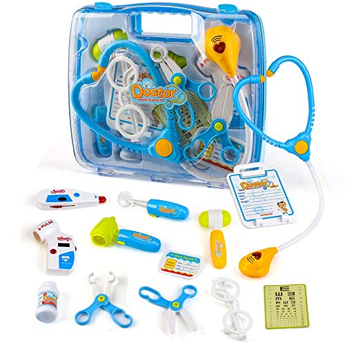 INGQU Kids Doctor Kit, Kids Pretend Play Doctor Toy with Heartbeat Sound Stethoscope, Durable Medical Play Set Equipment in a Solid Carrying Case, Educatiol Medical Kits for Kids Toddler Girls Boys