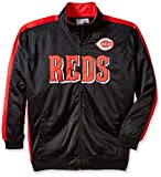 MLB Cincinnati Reds Men's Tricot Poly Track Jacket, 2X Tall, Black/Red