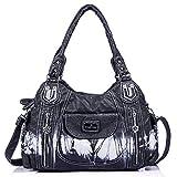 Handbag Hobo Women Handbag Roomy Multiple Pockets Street ladies' Shoulder Bag Fashion PU Tote Satchel Bag for Women (AK812-2Z Black)
