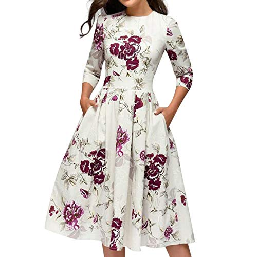 Cenglings Women Elegant 3/4 Sleeve Floral Print A-line Vintage Printing Party Vestidos Dress High Waist Flare Gown Midi Dress White ()