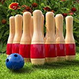 ColorsShop 11 Inch Wooden Lawn Bowling Set with Mesh Bag