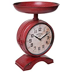 Casual Country 2 Sided Metal Clock, Battery Operated, Decorative Retro Scale Design, Red, 14-inch