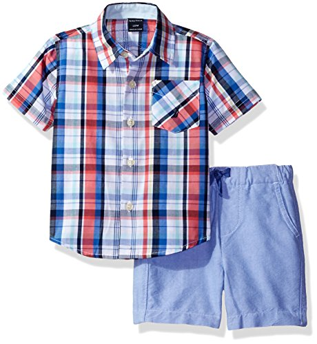 Nautica Baby Boys' Sleeve Woven Shirt and Pull On Short Set, Guava, 24 Months - Guava Set