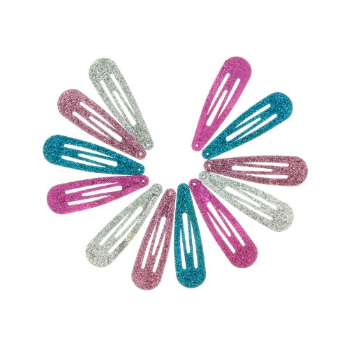 24 Pack Bright Glitter Snap Clips BUY 1, GET 1 Free
