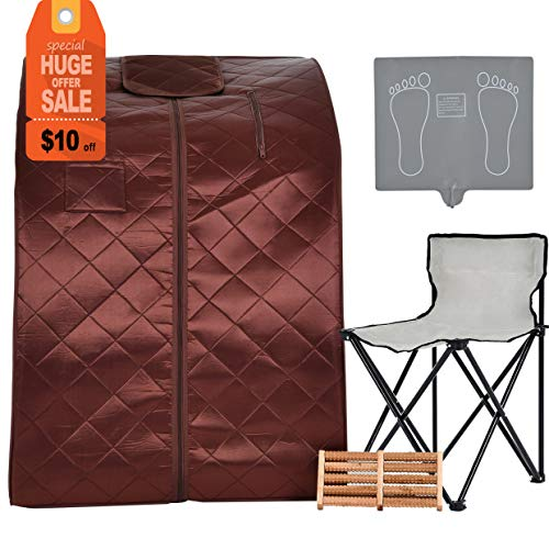 (KUPPET Portable Infrared Home Spa, Infrared Negative Ion Portable Sauna, with Heating Foot Pad and Chair, Remote Control, 30 Minutes Timer (Infrared 36.6''H, Brown) )
