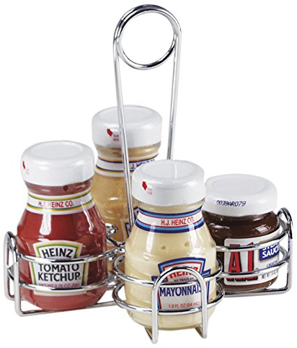 G.E.T. Enterprises 4-221623 Metal Four Compartment Condiment Caddy, Iron, Chrome