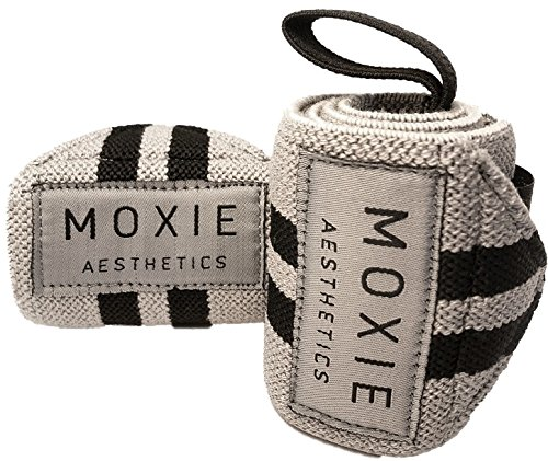 Moxie Aesthetics Wrist Wraps for weightlifting, powerlifting, cross training, bodybuilding and any form of exercise/Professional grade for quality gym workout! (Gray/Black Stripes, 24) (Best Wrist Wraps For Powerlifting)