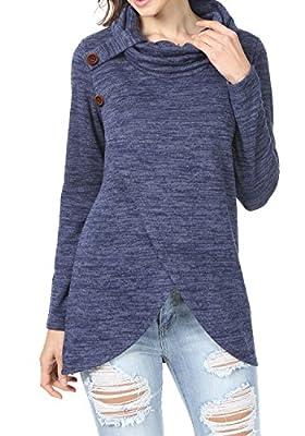 levaca Women's Long Sleeve Turtleneck Cross Front Loose Fit Casual Tunic Tops