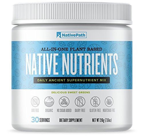 NativePath Native Nutrients Powder, All-In-One Plant Based Supernutrient Mix, Thyroid Boost, Fat-Burning Detox Drink, Rich with 14 Nourishing Foods, Organic Metabolism Booster 30 servings per bottle