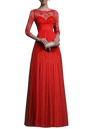 a3b6562e13f Femme Robe Longue Soirée Dentelle Manches 3 4 Robe Cocktail Demoiselle  d honneur Robe Bal De Maxi Robe Longue  Amazon.fr  Vêtements et accessoires