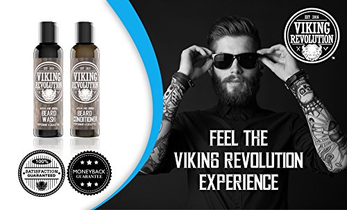 Best Deal Beard Wash & Beard Conditioner Set w/Argan & Jojoba Oils - Softens & Strengthens - Natural Peppermint and Eucalyptus Scent - Beard Shampoo w/Beard Oil (5 oz) by Viking Revolution (Image #2)