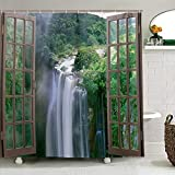 Curtain 3D Wide Waterfall Deep Down in The Forest Seen from A City Window Epic Surreal Decorative Shower Curtain Landscape Bathroom Curtain 150 * 166cm (Color : Item 2)