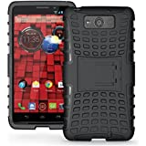 MAXX Case, iThrough Stand Function Dual-layer TPU & Plastic Protection Cover Carrying Case for Motorola Droid MAXX XT1080M (Black-)