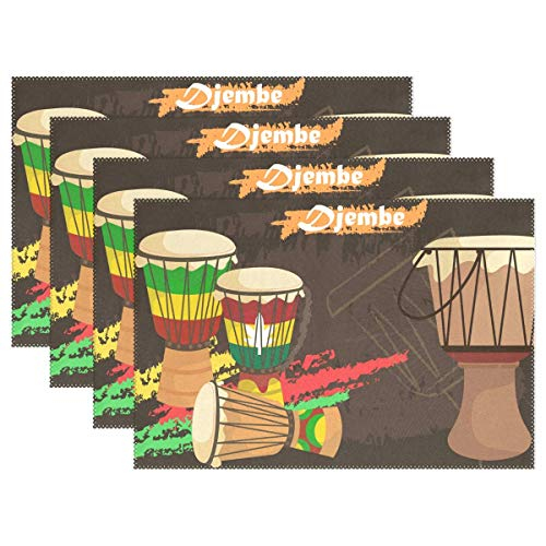 GPUnfdvc Djembe African Percussion Placemat Dining Table Mat 12