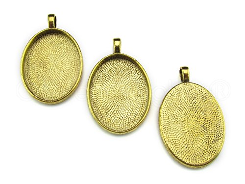CleverDelights 20 Pk Oval Pendant Trays - Antique Gold Color - 22x30mm - Pendant Blanks Cameo Bezel Settings