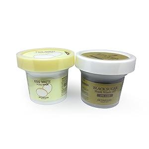 [Skinfood] Skinfood Black Sugar Mask Wash Off 3.53oz(100g)+Egg White Pore Mask Wash Off 4.40oz(125g) Set