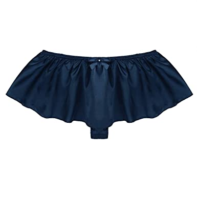 c67f847b5ce7 ACSUSS Men's Silk Satin Thong Sissy Crossdress Trunk Ruffled Skirted Panties  Navy Blue Medium(Waist