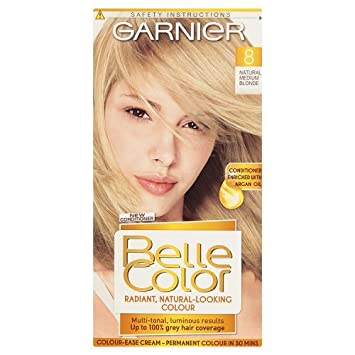 ff189a9dd914f2 Garnier Belle Color 8 Natural Medium Blonde Permanent Hair Dye Pack of 3   Amazon.co.uk  Beauty
