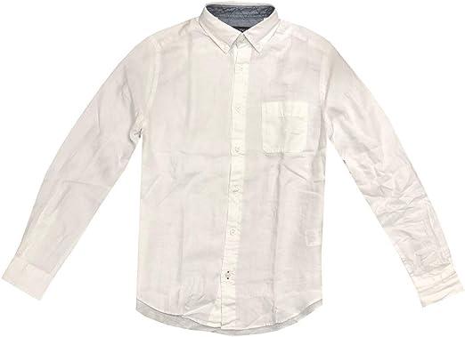 Nautica Camisa de manga larga con bolsillo de lino para ...