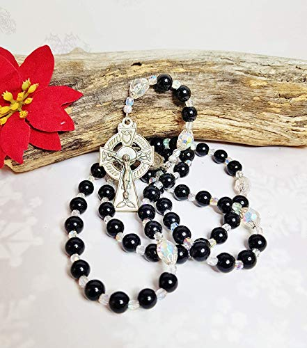 An Irish Blessing ~ Celtic Black Onyx Rosary ~ Catholic Wedding Gift For Dad, Husband ~ Gothic Auto Rosary ~ Antique Silver Celtic Cross ()