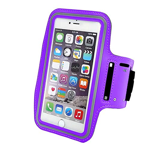 Phone Armband Sleeve Best Running Sports Arm Band Strap Holder Pouch Case Gifts Exercise Workout Fits iPhone 6 6S 7 8 X XR XS MAX Plus iPod Android, Galaxy S8 S9 Note 5 9 Edge-Purple