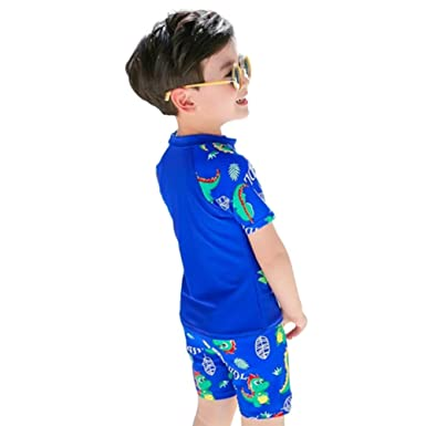 ab2fdfa8af Digirlsor Kids Toddler Boys Two Piece Rash Guard Swimsuits Cartoon Dinosaur  Baby Bathing Suit Short Sleeve